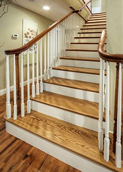 hardwood stair treads with bullnose painted stairs??? thinking about doing this to my house