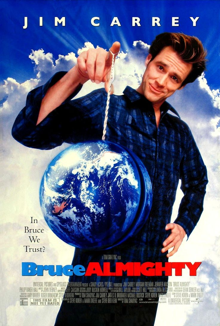 Bruce Almighty starring Jim Carrey, Morgan Freeman and Jennifer Anniston