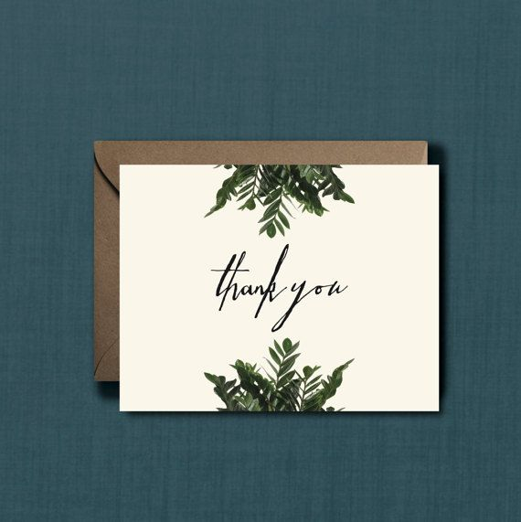 Whimsical Greenery Botanical Thank You Greeting by blacklabstudio