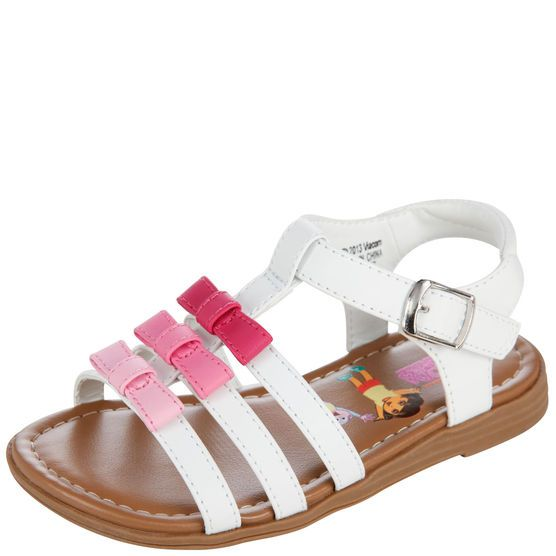 She'll love this sweet sandal with her favorite characters on the footbed! It featues a faux leather upper, a trio of bows on the vamp, padded ankle strap, and a faux buckle with hook and loop closure, and a skid-resistant outsole. Manmade materials.