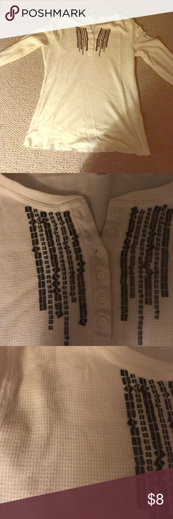 """Charlotte Russe thermal Henley with sequins White colored thermal Henley with gold sequins next to buttons. 6 buttons give you options to button it up or down. Bust measures 34"""". Gold sequins dress up the shirt so you can wear it for a night on the town! Charlotte Russe Tops Tees - Long Sleeve"""
