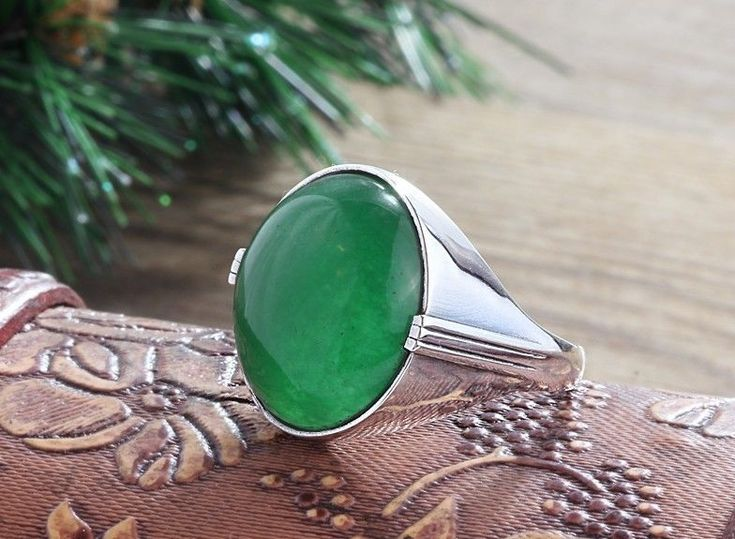925K Sterling Silver Mens Ring Natural Green Agate Gemstone (All Sizes available #istanbul_Jewelry #Statement