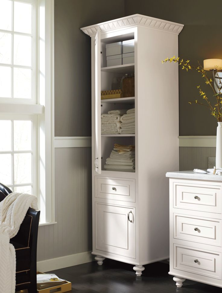 A Stand Alone Linen #cabinet Adds Charm And Much Needed Extra #storage ·  Bathroom Linen CabinetLinen CabinetsWhite ...