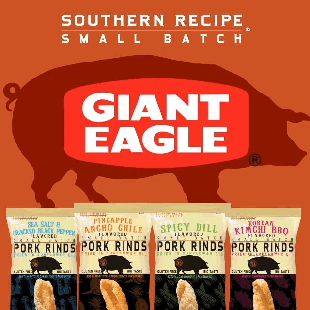 Hey, Giant Eagle fans! Have you found us on your shelves yet? Grab a pack of #SRSB and tell us what you think! 🤔 . . . #Snacks #Protein #TravelSnacks #Recipes #Recipe #PorkRind #PorkRinds #Delicious #foodie #PorkRindAppreciationMonth #GridironGroovin #Touchdown #Contest #Win #Football #SuperBowl #BigGame