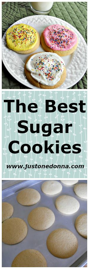 This recipe for sugar cookies makes the best cookies.  This is the only recipe you'll ever need.  Top each cookie with buttercream frosting and you'll have cookies that rival that expensive online retailer. Just One Donna's Sugar Cookies