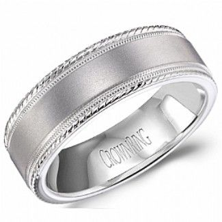 Crown Ring White Gold Mens Wedding Band With A Brushed And High Polished Finish