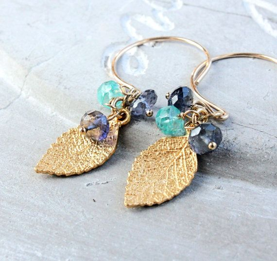 Gold Leaf Earrings Gold Filled Vermeil Gold Jewelry by Hildes