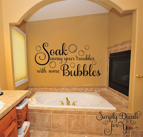 Soak away your troubles with some bubbles - bubble bath vinyl wall decal is made with a premium font and will add the perfect touch to your bathroom. We use a matte finish, high quality self adhesive vinyl that is easy to apply and will give your walls a painted look without all the mess. Our wall decals are easy to remove leaving no residue behind and can be applied to lightly textured walls and many other surfaces. One of the hottest trends in home decor is using vinyl wall decals to…