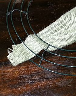 Make a Burlap Wreath - wikiHow.....might need to learn how since Im making burlap pillows for my new patio bench.