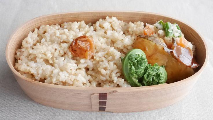 玄米御飯200g(梅干し)、カラスガレイ煮付、おから炒り煮、こごみお浸し