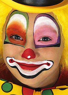 12 besten kinderschminken karneval bilder auf pinterest bemalte gesichter erwachsene und - Clown schminken bilder ...