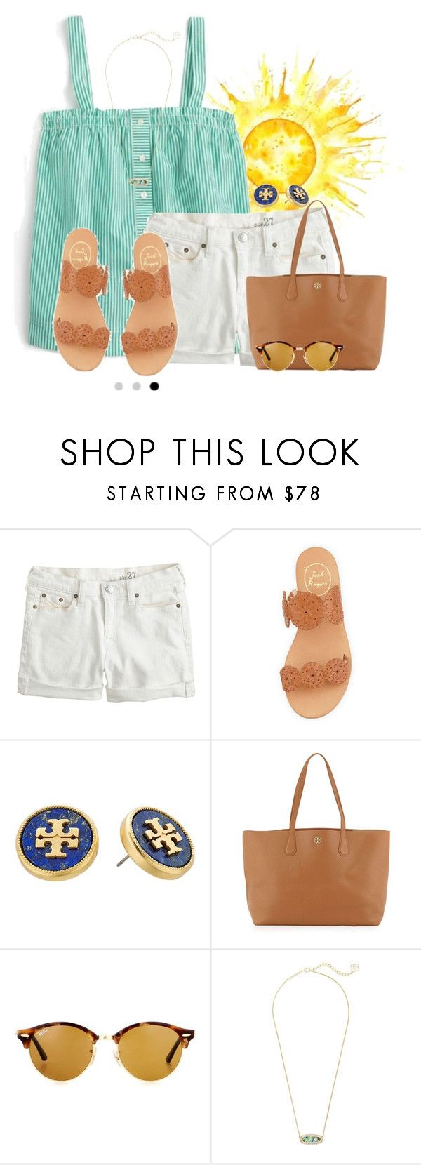 """""""Thank you everyone who has encouraged @livnewell and continues to encourage her!"""" by flroasburn ❤ liked on Polyvore featuring J.Crew, Jack Rogers, Tory Burch, Ray-Ban and Kendra Scott"""