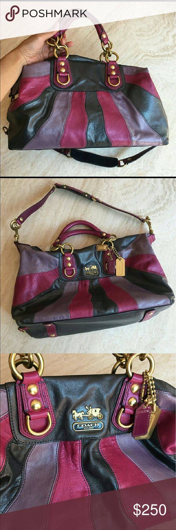 Limited edition large Sabrina Coach bag Rare coach pursue, leather ombre, large Sabrina, stunning limited edition from Sabrina collection. Beautifully crafted leather In shades of fuschia and purple. Multifunctional pockets. One large zipper compartment and gold creed patch inside. Brass hardware, zipper top closure, handles and removable shoulder strap. Also comes with three Coach hang tags. Never been used and in pristine condition! No dust bag. Style number 12952. Approximately 18x11.5 in…