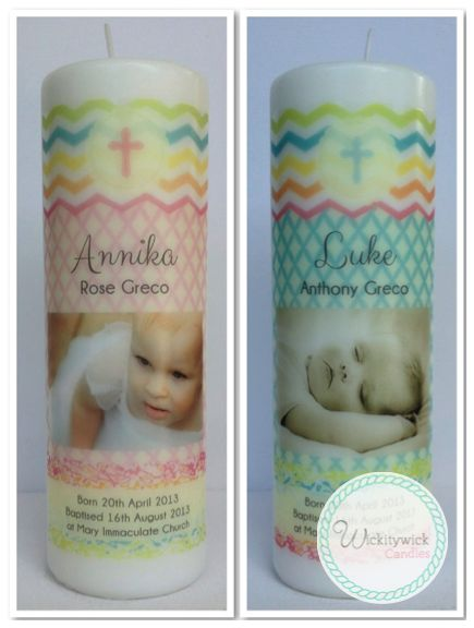 Rainbow Photo Personalised Candles by Wickitywick Candles #Baptism Candle #Christening Candle #Naming Day Candle www.wickitywickcandles.com.au