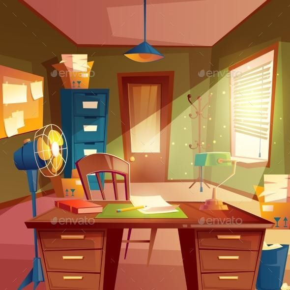 Vector Illustration Of Working Space Study Room Study Room Interior Illustration Interior