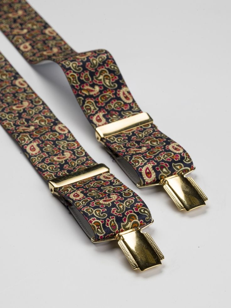 Paisley Braces in Blue - Smooth finish, elastic braces that won't stretch the bank balance but will look superb holding your trousers up. Also in Gold - at this price you should get both colours!