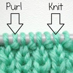 Recognizing knit & purl stitches: The purl stitches have a horizontal bar (a little bump) under the stitch on the needle. The knit stitches do not. ""