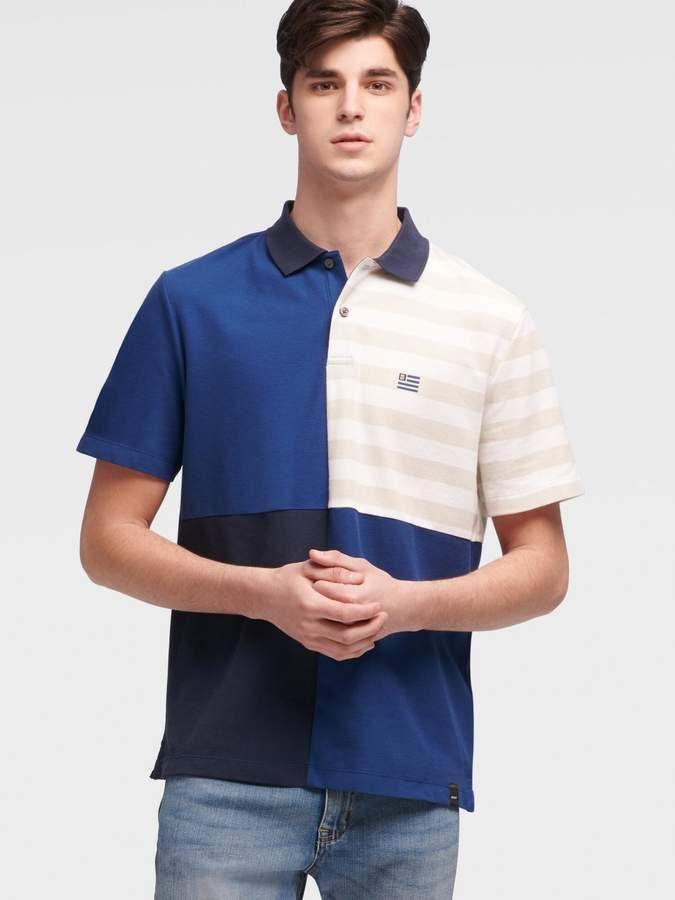 Nautica Mens Short Sleeve Cotton Pique Striped Oxford Polo Shirt