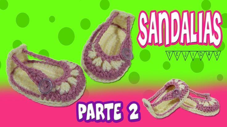 Sandalias o Huaraches tejidos  a crochet modelo verano   parte 2/2