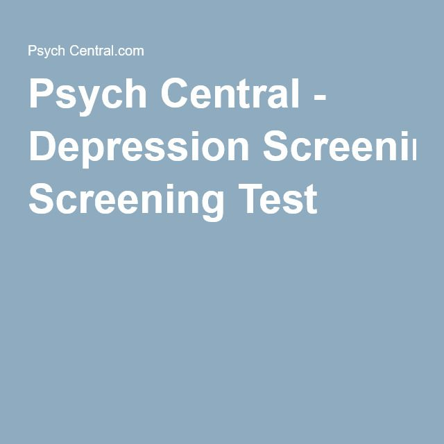 Psych Central - Depression Screening Test