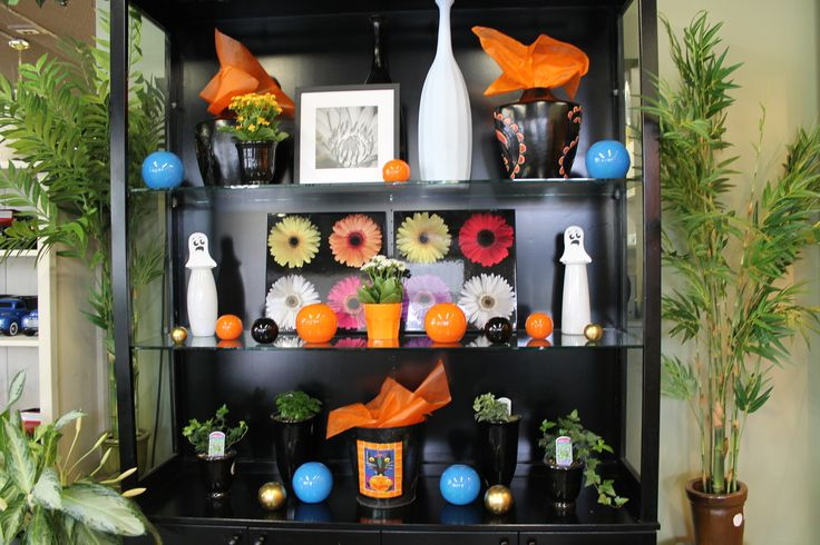 Our Gift Ware area is ready for Halloween with orange and black!
