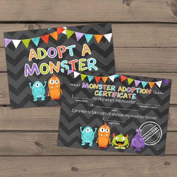 Adopt a Monster certificate and sign Monster by Anietillustration
