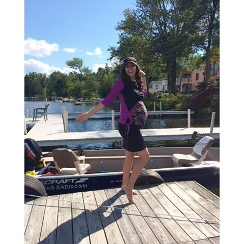 This mom-to-be enjoyed her weekend looking super chic in her HydroChic Maternity Sunblock Swim Top and Maternity Skirt. Sun protected and stylish-- perfect for all expecting moms! #hydrochicswimwear #swimwear #activewear #weekend #maternity #expecting #su