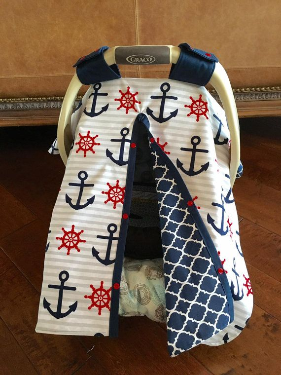 Baby Car Seat Cover New Gray Stripe Navy And Red Anchor Print With