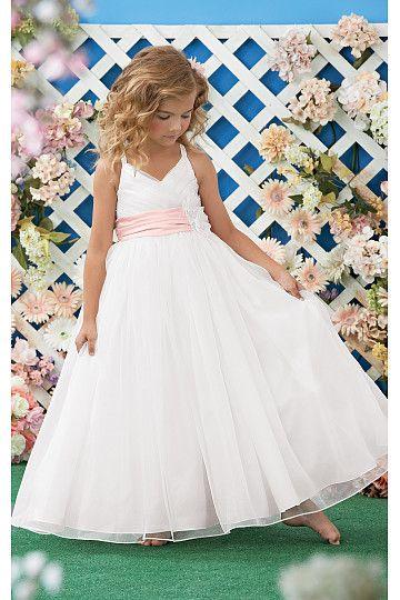 Affordable White Sleeveless Floor-length Flower Girl Dresses