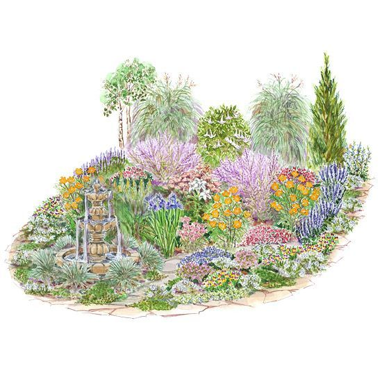This informal mixed garden bed features drought-tolerant trees, evergreen shrubs, perennials, and annuals./
