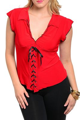 Plus Size Sexy Tie-Up Knit Corslet Top