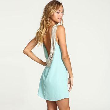 Show details for Summer  Solid Women Mini Dress Sexy Backless Dress Beachwear