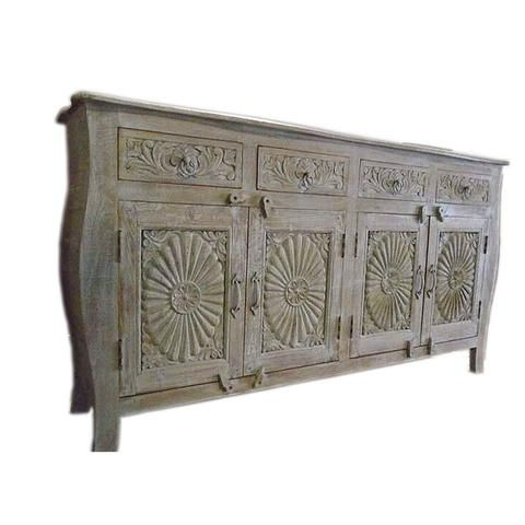 White Wooden Sideboard With Carved Floral Design - FOLKBRIDGE.COM   Buy Gifts. Indian Handicrafts. Home Decorations.