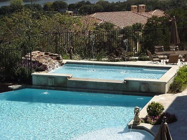 Tiered Backyard With Pool : Double tiered Pool, waterfall  Patios and Pools  Pinterest