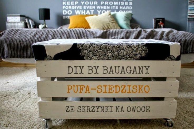 BAUAGANY: DIY puf-siedzisko na kółkach ze skrzynki na owoce
