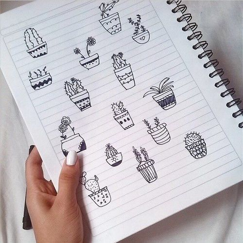 black, cacti, cactus, cute, doodle, nails, notebook, pen, plants, tumblr