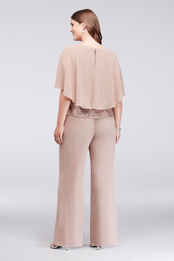 Three-Piece Chiffon Capelet Plus Size Pantsuit Style 610747DW, Cashmere, 22W 2