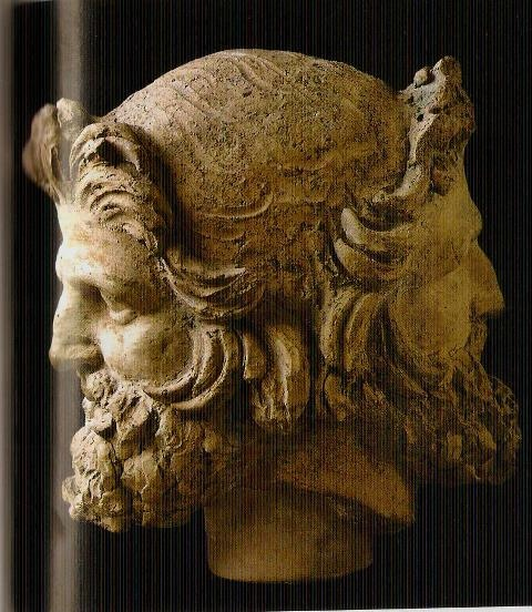 Janus - In ancient Roman religion and mythology, Janus (Latin: Ianus) is the god of beginnings and transitions,[1] thence also of gates, doors, doorways, endings and time. He is usually a two-faced god since he looks to the future and the past. The Romans dedicated the month of January to Janus. Source: Wikipedia