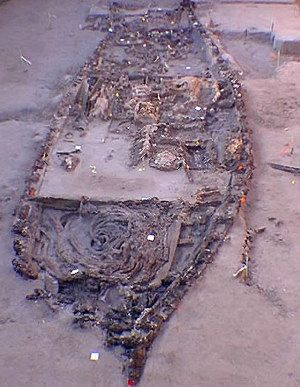 The Shipwreck La Belle,ran aground in 1687 and was preserved over 300 years.   Inside the Cofferdam, the Ship's Hull  & La Salle's Cargo for the Colony were slowly uncovered from the mud. Photo courtesy of the Texas Historical Commission.