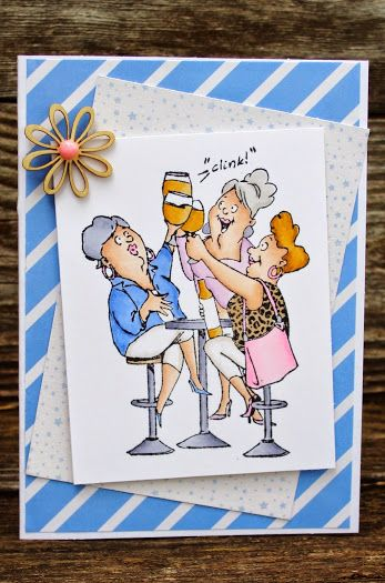 Art Impressions Rubber Stamps: Wine Diva sku# SC0677 Hampton Art clear stamp set. Handmade birthday card.
