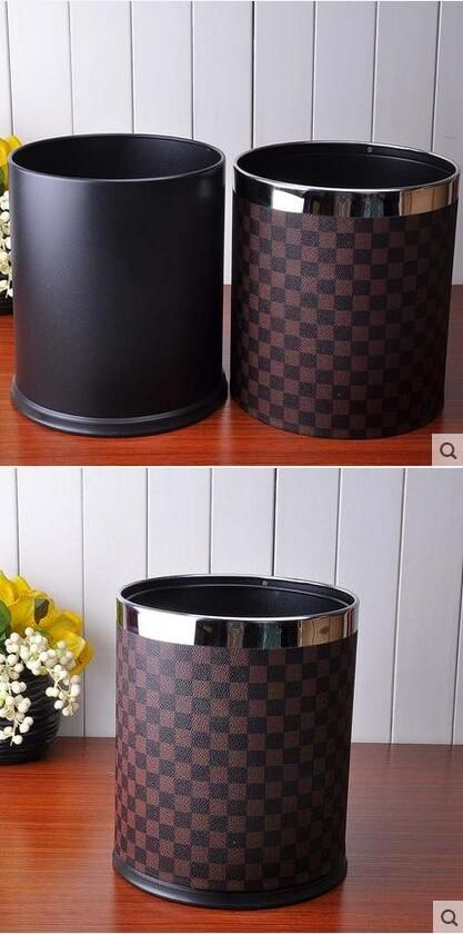 10L round double-layer built-in metal leather trash garbage waste rubbish bin can storage bucket dustbin for home office PLJT001