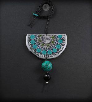 XL Turquoise Moon Mandala necklace – Olga Zielinska – Folt Bolt Shop