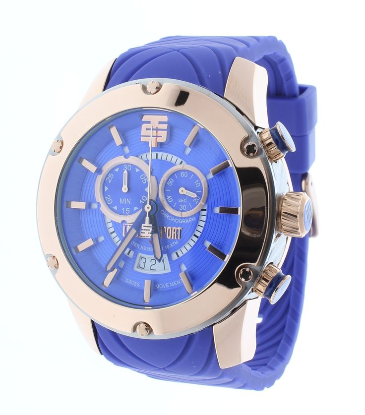 Technosport TS-750-16 Men's Royal Blue Chronograph Watch Rose Gold Accents Silicone Strap