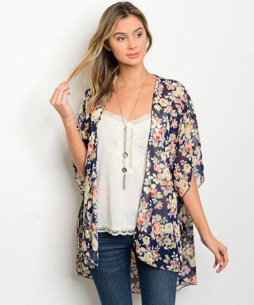 "Short flutter sleeve open front floral print kimono. Fabric Content: 100% Polyester Description: L: 33"" B: 46"" W: 66"""