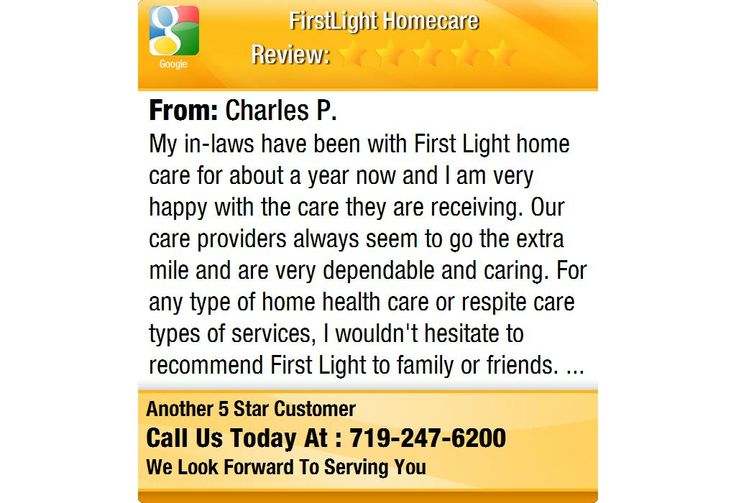 My in-laws have been with First Light home care for about a year now and I am very happy...