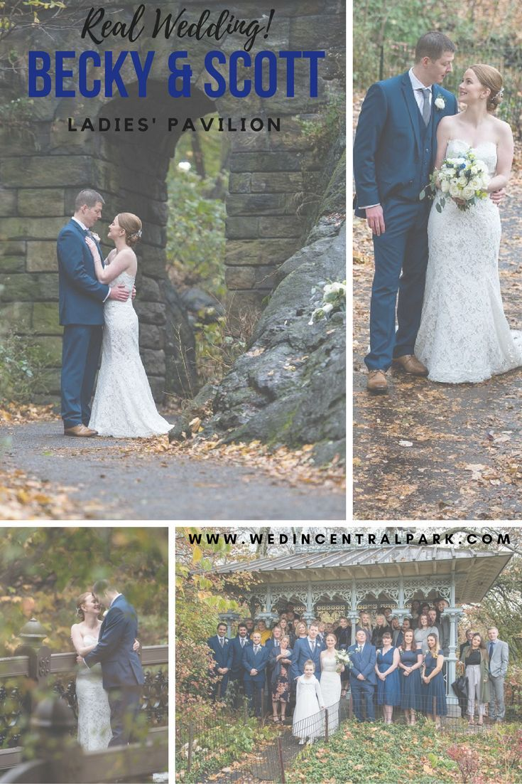 Becky and Scott's November / Fall destination wedding in the Ladies' Pavilion, Central Park, New York.