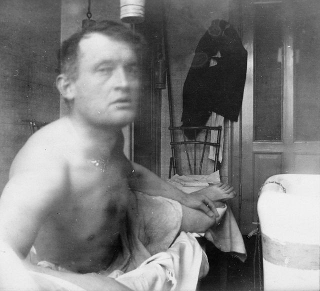 Edvard Munch self portrait taken while undergoing treatment for his mental health at a clinic in Denmark, 1908-09