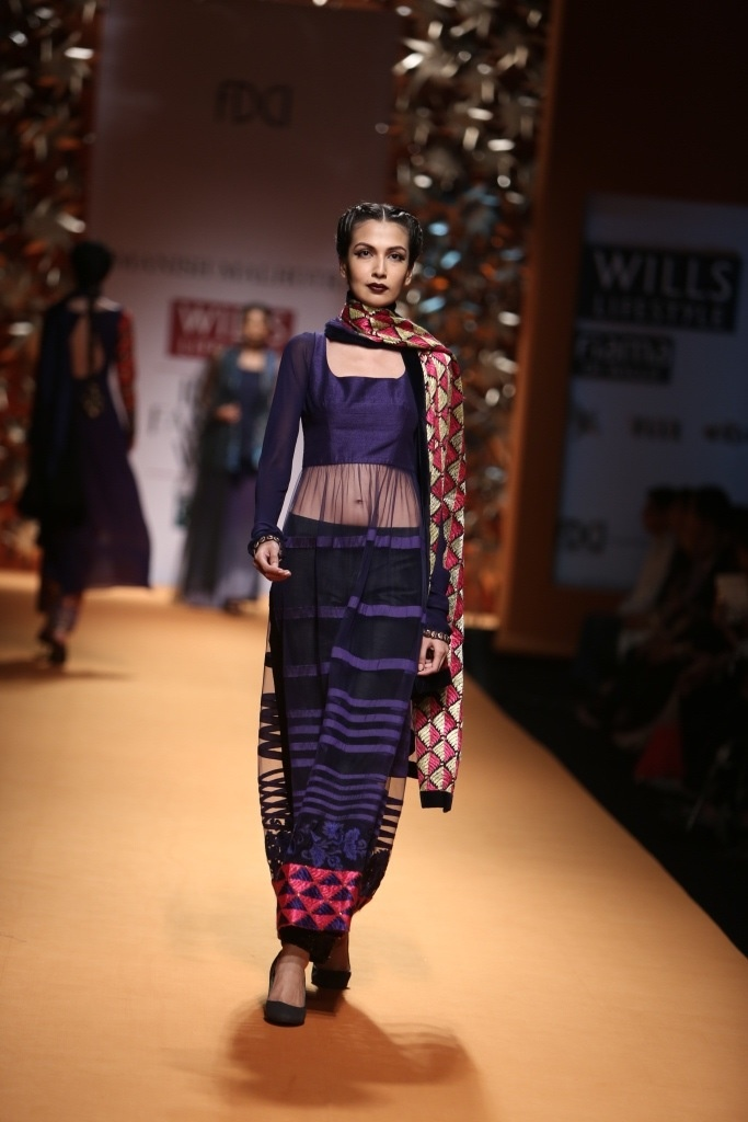 Phulkari dupatta - We are going to see a lot of them this season!  Designer: Threads of Emotion by Manish Malhotra  Showcased at WIFW 2013