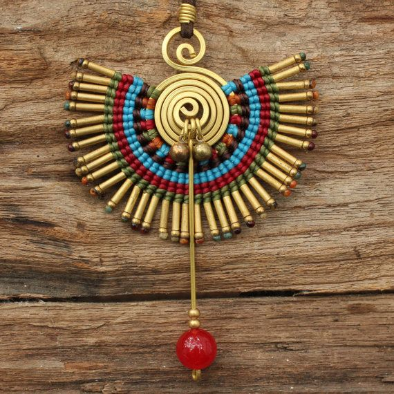 Tribal necklace with woven cotton and brass charm by cafeandshiraz