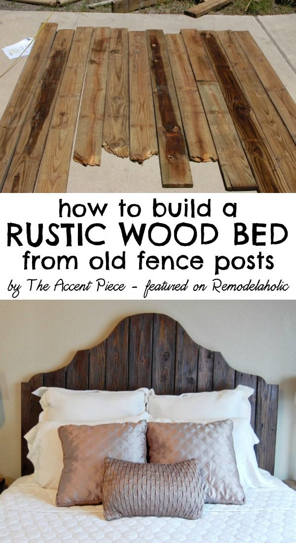 How to build a rustic wood headboard + bed -- The Accent Piece featured on Remodelaholic.com #headboardweek #diy #reclaimedwood